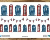 British Planner Stickers | Watercolor TARDIS Red Telephone Box Union Jack Bunting UK Watercolour Anglophile England UK London Sticker