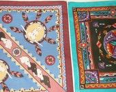 2 Vintage southwestern Bandannas • cotton poly bandana lot • U.S.A.