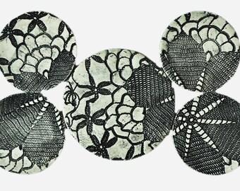 Coaster - Trivet  Set with Black & White Vintage Lace Texture-  Shabby Chic Home Decor