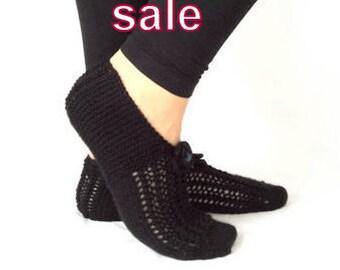 Handknitted ,Wool Slippers ,Black Slippers ,Women Slippers ,Handmade Slippers, Was 35, Now 29.90