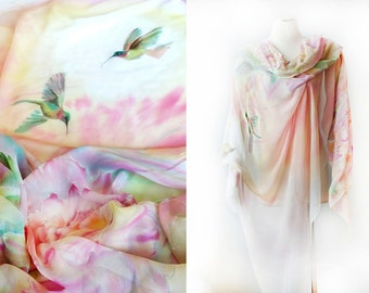 Silk Shawl Hand Painted Silk Wrap Silk Chiffon Veil One of a Kind Hummingbirds and Peonies Ready to Ship