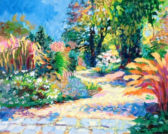 Garden path, late summer, original oil painting