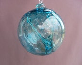 Hand Blown Glass Witch Ball/Ornament/Suncatcher,Art Glass,Aqua Color with Bubble Pattern