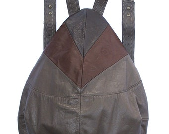Unique taupe backpack with mixed brown leather, drop shape, super safe, RECYCLED LEATHER