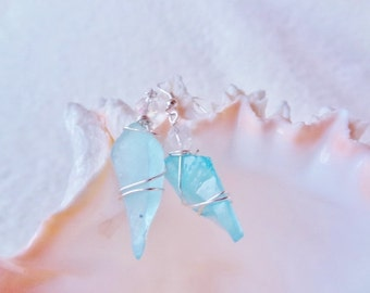 Frozen Style Icicle Sea Glass Earrings Topped in a Crystal 1