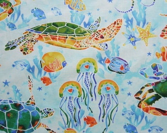 Tranquil Tides Overall Sealife Jellyfish Fish Turtles Ocean Northcott Fabric Yd