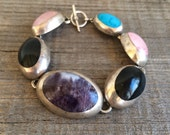 Vintage Taxco style sterling silver gemstone link bracelet amethyst onyx rose quartz turquoise, silver multi stone inlay link clasp bracelet
