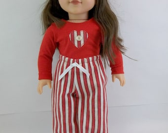 18 inch Doll Flannelette Pajamas Red Stripe Pants  with Red Top Fits American Girl  18 inch  Dolls Sleepwear Toys