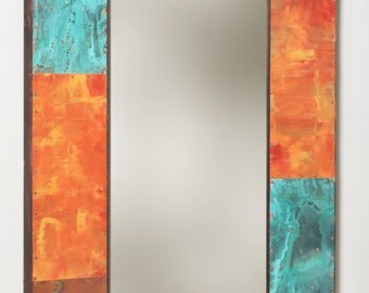 53 x 25 Copper and Metal Mirror
