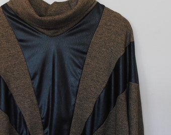 black and brown...1980s vintage vinyl and knit batswing jumper