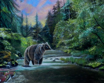Bear Sunrise - original painting, bear painting, wildlife art,