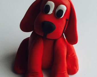 Clifford the big red dog fondant cake topper, edible cupcake topper, dog cake topper, fondant dog