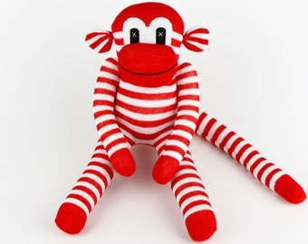 Handmade Original Sock Monkey Stuffed Animal Doll Baby Toys Girls Christmas Gift