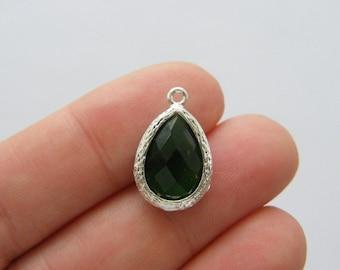 1 May teardrop birthstone emerald 18 x 11mm silver plated