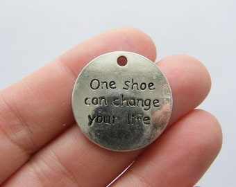 6 One shoe can change your life charms antique silver tone M740