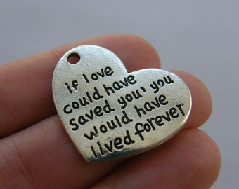 2 If love could have saved you charms antique silver tone M721