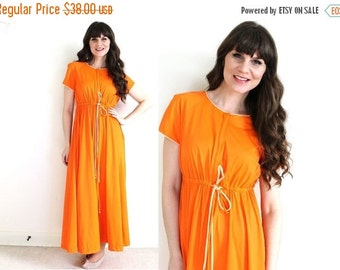 ON SALE 1960s Nightgown / 60s 70s Orange Nightgown Robe / Dressing Gown