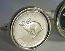 49th Birthday Gift 1967 - Canadian Coin Cufflinks - (Mint Quality 5 Cent Hare Coin)  - FREE Cufflink Box - FREE & Reduced SHIPPING !