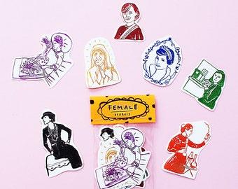 Superwoman Sticker Pack -Set of 7 - Vinyl Stickers - Hand Drawn Sticker - Handmade Sticker - Female Sticker - Woman Sticker