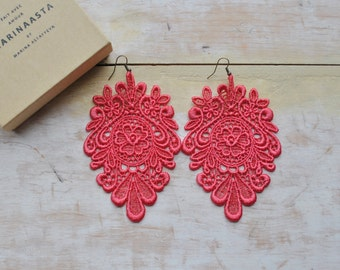 Coral lace earrings/ Long earrings/ Romantic earrings/Boho chic/ Modern boho/ Gift idea/Last minute gift/ Under 20 rusteam