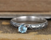 SILVER BLUE TOPAZ ring, hand made floral band sterling silver ring with genuine blue topaz gemstone