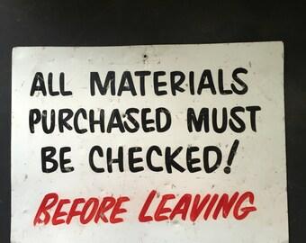 Vintage metal sign  shop sign  lumberstore hardware