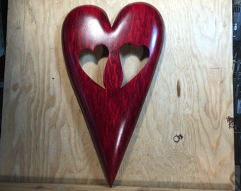 Heart personalized Red wooden heart wall hanging gift wood carvings handmade woodworking by Gary Burns the treewiz