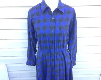 Blue Black Plaid Flannel Shirt Dress