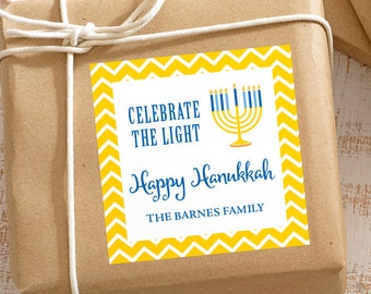Personalized Hanukkah Gift Stickers - Set of 12