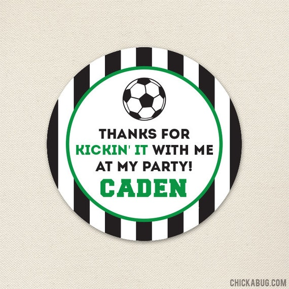 Soccer Party - Custom Favor Stickers - Sheet of 12 or 24 - Choose green, red, blue or pink