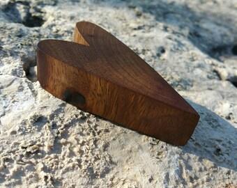 Beautiful pecan heart magnet OOAK cut, Danish Oil, refrigerator magnet, wedding favor, stocking stuffer, teachers gift