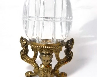"25% OFF SALE Large 11"" Crystal Egg Box with Figural Ladies Head Pairpoint Stand 1430"
