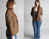Vintage Wool Tweed Scolar Blazer - Jacket Coat Outerwear Menswear Brown Tan Pockets Collegiate - Size Medium M
