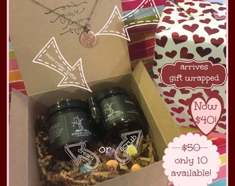 Valentine For Her- Sugar Scrub or Cream, Necklace, Mini-Roller Bottle (filled)
