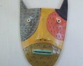 Patchwork cat w/ blue green lips  Mini Flathead Wall piece