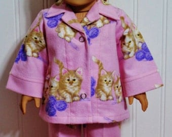 KITTENS and YARN flannel doll pajamas - fits 18inch Dolls -Proudly Made in America