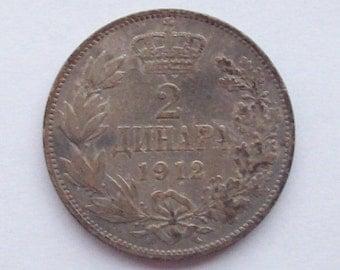 Serbia 1912 2 Dinara Silver Coin