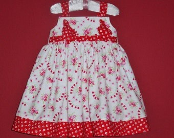 Girls Dress, Red and White Dress, Valentine's Day, Knot Dress, Twirl Dress, Toddler Baby Boutique Dresses by Hopscotch Avenue