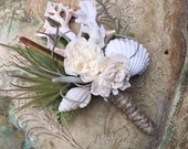 Shell boutonnière, seashell wedding flowers