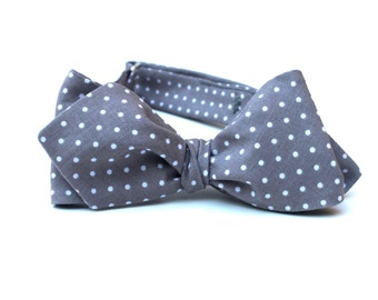Men's Bow Tie - Gray Pin Dot - Grey and White - for men - Polka Dot Diamond Point or Butterfly Bowtie - Freestyle - Adjustable