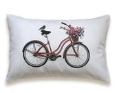 Bicycle Pillow Cover 12x18 inch White Cotton PRINT DESIGN 49 Maroon Red Deep Blue