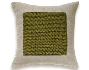 Color Block Linen Knit Pillow Cover In Olive Green Flax Beige 16 in Wool Cushion Garter Stitch