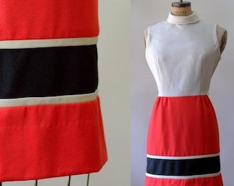 Vintage 1960s Dress Womens Mod Dress LG Mod Mini Dress 1960s Clothes Mod Clothing !960s Mod Dress Color Block Size Large