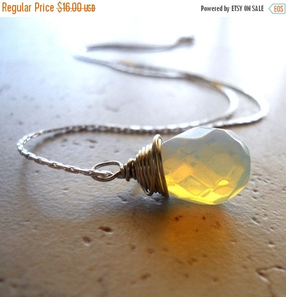 25% OFF SALE Glowing Necklace, Iridescent Opalite Briolette, Silver Wire Wrap Jewelry, White Stone Teardrop Necklace, Imitation Opal Necklac