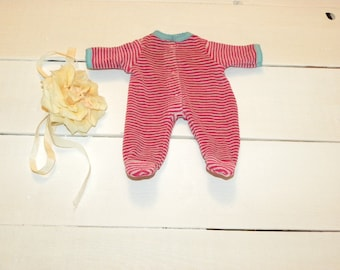 Striped Fuchsia and Grey Footed Sleeper - 12 inch doll clothes