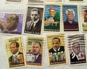 40 Black History Stamps,  vintage stamps, Black History Month, Black Heritage, Martin Luther King, Used Stamps