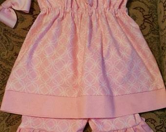 Custom-made light pink cut quarters and polka dots pillowcase ruffle short set