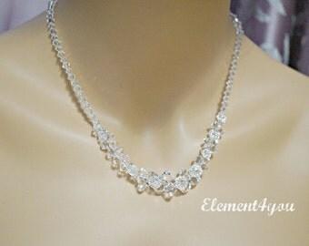 Bridal necklace, Wedding necklace, Jewelry, Swarovski crystal necklace, Clear crystal necklace, Sterling silver, Bridal Jewelry.