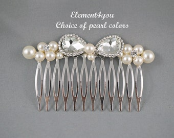 Bridal hair comb, Pearl hair comb, Rhinestone comb, Silver metal comb, Elegant hair comb, Pearl cluster comb, Wedding hair piece, Head piece