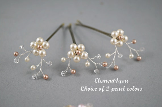 Bridal Flower Bobby Pins, Swarovski Ivory Champagne pearl, Wedding Accessories, Pearl hair clips, Silver wire vines, Bridesmaid hair do
